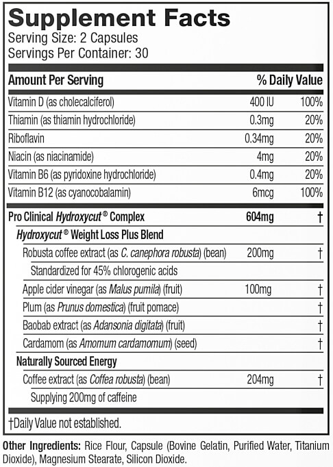 Hydroxycut Pro Clinical Ingredientes